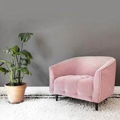 Large dusty pink velvet armchair