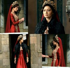 Kosem's black cape, and red dress w/gold embroidery (2x03)