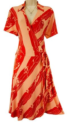 XL X-LARGE SEXY Womens RED/PINK FAUX-WRAP DRESS Collar Summer Office Day/Evening #NewYorkCompany #Fauxwrap #Versatile
