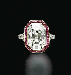 Fashion | Jewellery | Antique | Rosamaria G Frangini || AN ART DECO DIAMOND AND RUBY RING   Set with an octagonal-shaped diamond, within a calibré-cut ruby surround, mounted in platinum, circa 1930
