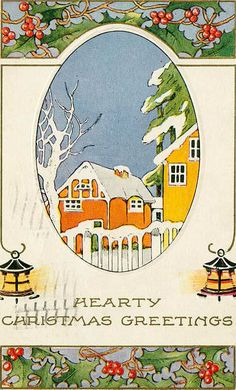 Vintage Christmas house card