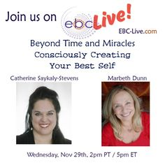 I'm excited to be interviewed on EBC Live with Catherine Saykaly-Stevens. We'll be covering some fascinating information about time and miracles and how to create more success and miracles in your life. The Evolutionary Business Council (EBC) is a community of influencers from around the world. Our vision is to connect and assist like-minded thought-leaders whose collective mission is to make the world a better place. Please join us live!