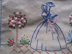 Beautiful Vintage Hand Embroidered Crinoline Lady Completed Picture / Panel