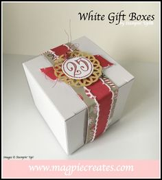 White Gift Boxes by Stampin' Up!. Created by Sharlene Meyer form www.magpiecreates.com #stampinup #magpiecreates