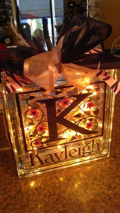 Lighted Glass Block - Monogram - Name - Silhouette Cameo - Vinyl