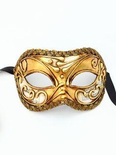 Men's Venetian Gold Musical Note Masquerade Mask