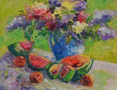 "Still Life Artists International: ""Summertime"" Original Oil Still Life Painting With Watermelon by Western Colorado Artist Barbara Churchley"