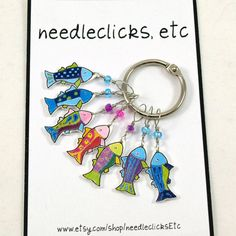 Items similar to rainbow fish stitch markers, whimsical, colorful set of snag free on Etsy Bead Crafts, Jewelry Crafts, Diy Shrink Plastic Jewelry, Shrink Art, Rainbow Fish, Shrinky Dinks, Knitting Accessories, Knit Or Crochet, Stitch Markers