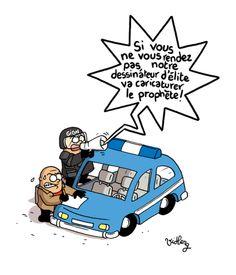 Hommage à Charlie Hebdo par le dessinateur Vidberg, Libération. 7 au 9 janvier 2015.