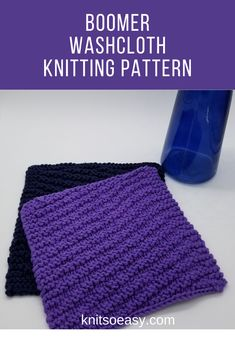 Knit Purl Stitches, Dishcloth Knitting Patterns, Knitted Washcloths, Knitted Hats, How To Purl Knit, Repeating Patterns, Easy Projects, Washing Clothes, Pattern Design