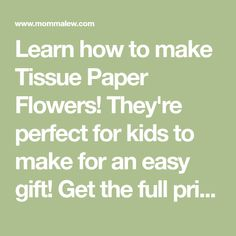 Learn how to make Tissue Paper Flowers! They're perfect for kids to make for an easy gift! Get the full printable instructions! Tissue Paper Pom Poms Diy, Tissue Paper Flowers, Spring Crafts, Holiday Crafts, Mothers Day Crafts For Kids, Paper Flower Tutorial, Easy Gifts, Flower Crafts, Easy Diy