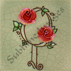 AN027 - Gloss Ceramic or Glass Tile - Vintage Art Nouveau Reproduction Tile - Two Roses - Various Si
