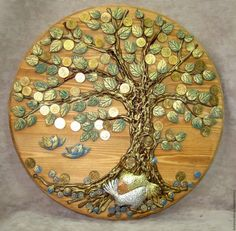 Сильный денежный талисман из обычной монеты / Мистика Tree Wall Art, Tree Art, Coin Crafts, Coin Art, Money Trees, Art Therapy Activities, Jewelry Tree, Button Art, Indian Art