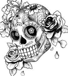 skull line art Skull Girl Tattoo, Girl Skull, Sugar Skull Tattoos, Skull Tattoo Design, Sugar Skull Art, Skull Design, Sugar Skulls, Tattoo Coloring Book, Skull Coloring Pages