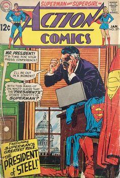 Action Comics 371 January 1969 Issue DC Comics by ViewObscura Dc Comics, Superman Action Comics, Old Superman, Superman Comic, Superman Stuff, Superman Family, Batman, Dc Comic Books, Comic Book Covers