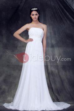 2013新しいスタイル魅力的ストラップレス帝国コートトレインひだ飾りウエディングドレス