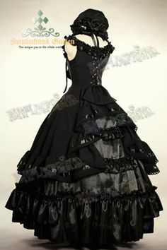 Great black ball gown gothic aristocrat lolita with hat, Black Butler   Shop : www.steampunk-story.com