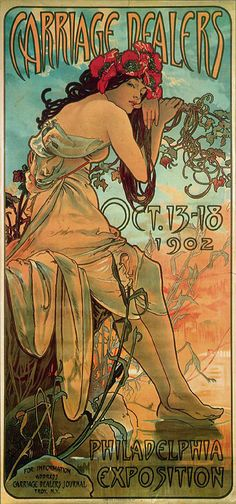The Four Seasons: Summer by Alphonse Mucha (obviously changed a little to be a poster for something). I think this would be an excellent upper arm half-sleeve tattoo...hmmmm...