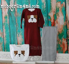 Little Boys MSU Bulldog Mississippi State Baby Gown by monogram4me