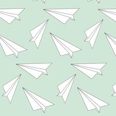 mint paper plane - elvelyckan fabric by elvelyckan on Spoonflower - custom fabric