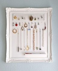 I bet you could find a cool picture frame in Zoey's. Turn it into a cool jewelry hanger!