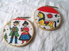 Vintage Fabric Hoop Art Hoop Art Swedish by VintagePlusCrafts, $10.00