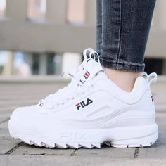 Trendy Women& Shoes 2017 - The beast is back!- Tendance Chausseurs Femme 2017 – The beast is back! Disruptor II by FILA…. – Trendy Women& Shoes 2017 – The beast is back! Disruptor II by FILA …. Moda Sneakers, Sneakers Mode, Sneakers Fashion, Fashion Shoes, Fila White Sneakers, Women's Shoes Sneakers, Skechers Sneakers, Sneakers Adidas, Baby Sneakers