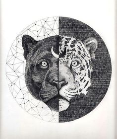 Awesome yin yang panther and cheetah. Style: Geometric. Color: Black. Tags: Cool, Best, Creative, Amazing