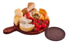 assorted cheese and tomato board  miniature food by amanspeak, $22.99