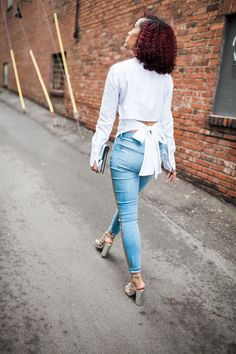 Bow Shirt Shirt that ties in the back Gap jeans Metallic Chunky Heels Chunky Heels Metallic Clutch
