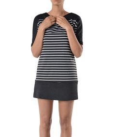 Look what I found on #zulily! Black Stripe Shift Dress by Lila #zulilyfinds