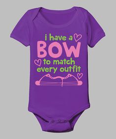 Look at this Country Casuals Purple 'A Bow To Match Every Outfit' Bodysuit - Infant on #zulily today!