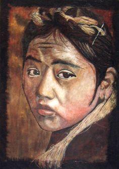 Portrait d'une jeune écolière Tibétaine - Tableau de sable et terres naturelles - 70x100 cm - Sandpainting - http://www.david-cadran.com
