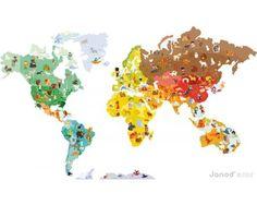 Große Wandsticker Weltkarte mit 101 Magneten von Janod 72€
