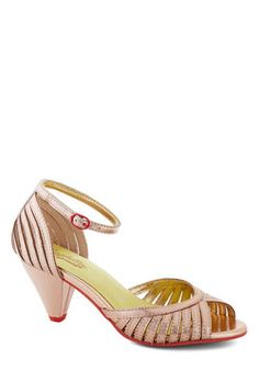 Perfect bridesmaid shoe. Turning Point Heel in Rose Gold, #ModCloth