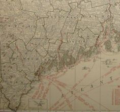 Rare MAINE Map of Maine with RAILROADS Library by plaindealing