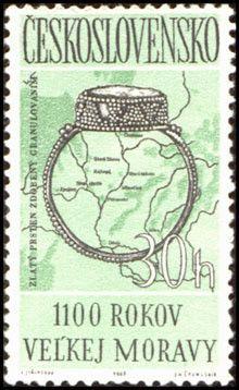 Bélyeg: Moravian Empire (Csehszlovákia) (Kulturális évforduló) Mi:CS 1407,Sn:CS 1181,Yt:CS 1277,AFA:CS 1252,POF:CS 1316