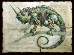 Amazing steampunk animals illustrations by Gvozdariki