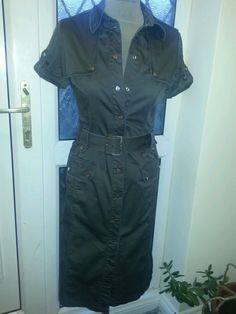 Stunning Karen Millen Safari Shirt Dress UK 8 Military Style .