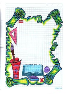Manos creativas maravillosas Frame Border Design, Page Borders Design, Book Cover Page Design, Book Design, Boat Drawing Simple, Paper Art Design, Pencil Drawings Of Flowers, Boarders And Frames, Notebook Art