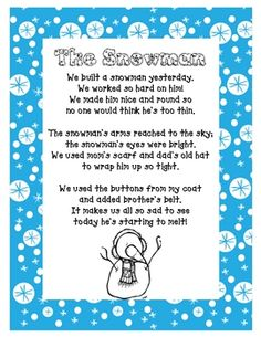 Snowman Possessives Printables and Poem