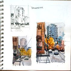Ron Stocke Architecture Sketchbook, Arte Sketchbook, Art And Architecture, Kunstjournal Inspiration, Sketchbook Inspiration, Sketchbook Ideas, Watercolor Sketchbook, Watercolor Art, Art Sketches