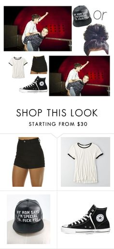 """""""piggy back rides with ziam :VAS HAPPENIN"""" by specialtj ❤ liked on Polyvore featuring Wrangler, American Eagle Outfitters and Converse"""