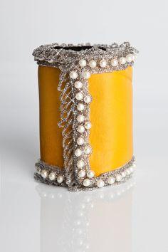 Leather and Pearl Fashion Cuff Wallet  CuffNGo