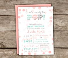 Ready to Pop Baby Shower Invitations - Coral, Mint, DIY, Printable, Couples Shower