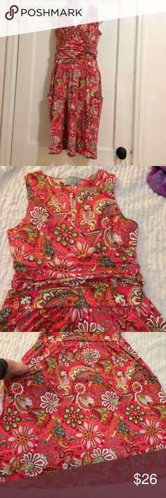 Athleta printed Jura dress size medium Athleta Stretchy cotton and modal combined in shirred waist dress that looks great dressed up or down. Retails for $89 and it's great condition! It has pockets!!! Arm pit to pit measures approximately 17-18 inches shoulder to hem measures approximately 42-43 inches.    (1-22) Athleta Dresses