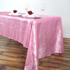 View efavormart's exclusive selection of Wedding Table Decorations to decorate your Wedding, Shower, and Party ambiance. Shop for our Taffeta Crinkle Tablecloths to decorate your wedding or reception tables. Pink Wedding Decorations, Baby Shower Decorations, Dinner Table, A Table, Pastel Decor, Chair Sashes, Crinkles, Banquet Tables