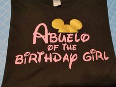 Mouse silhouette Abuelo of the Birthday girl Tshirt black