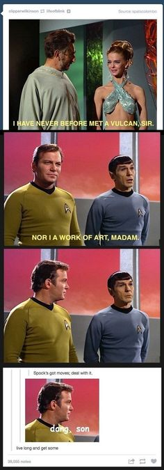spock just flirted. oh my gosh he did not just flirt! lol spock is great! my favorite character Science Fiction, Star Trek Enterprise, Star Trek Voyager, Star Trek Spock, Funny Memes, Hilarious, Comedy, My Sun And Stars, Fandoms