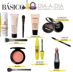 Maquiagem básica para mulheres acima de 40 anos Eyebrow Makeup, Hair Makeup, Maybelline, Dark Skin Makeup, Makeup Class, Girls Makeup, How To Make Hair, Beauty Make Up, Insta Makeup